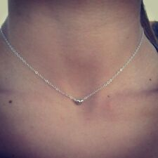 100% Sterling Silver Tiny Beaded Heart Necklace/Choker.  Petite and dainty.