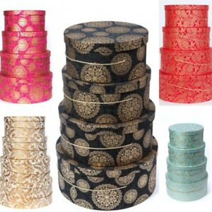NEW LARGE DECORATIVE ROUND HAT BOXES FANCY DESIGN STORAGE GIFT SINGLE OR SETS