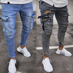 Men's Jeans Ripped Frayed Pants Cargo Pocket Slim Fit Skinny Ankle Zip Trousers