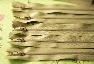 10  x 16 cm   Silver beige  DRESS ZIPS ZIPPERS  (#   345    )