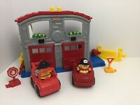 Fisher Price Little People Fun Sounds Rescue Fire Station 2 Trucks 2 People