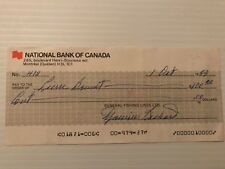 Maurice Richard signed General Fishing Lines cheque #418 (autographed)