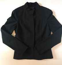 Theory Black Mandarin Collar Stretch Wool Tailored Peplum Blazer Size Small