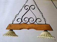 Lampadario bilanciere rustico ferro battuto legno terracotta