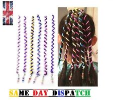 6 Spiral Coloured Hair Band Hairband Bobble Stretchy Toggle Elastic Curly Braid