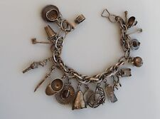 VTG Mexican charm bracelet 19 charms old Taxco western southwest sterling silver