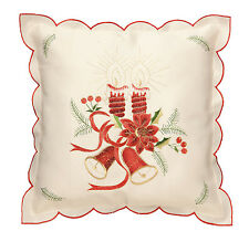 Christmas Cushion Cover 43 X 43cm Cream With Candles & Bells Embroidered (13940)
