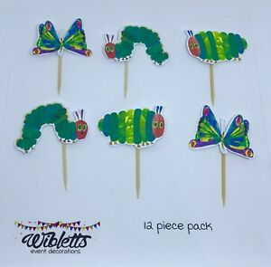 THE VERY HUNGRY CATERPILLAR THEME CUPCAKE TOPPERS, BUTTERFLY, 1st BIRTHDAY PARTY