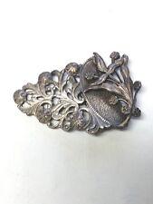 Antique Vintage Ornate Ladies Buckle Scarf Clasp Silvertone Flowers Filagree
