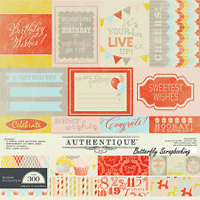 Birthday Wishes Collection 12x12 Scrapbooking Paper Crafting Kit Authentique NEW