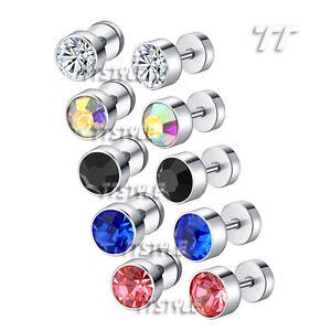 TT Surgical Steel Round Fake Ear Plug Earrings Crystal A Pair (BE97)