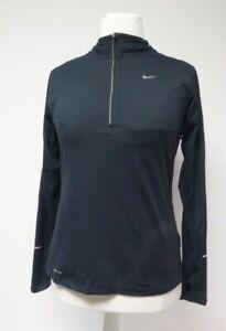 Nike Dri-Fit Ladies Black Quarter Zip Long Sleeve Sports Top UK M  A9