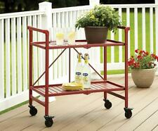 More details for cosco indoor outdoor folding serving drinks bar cart ruby red