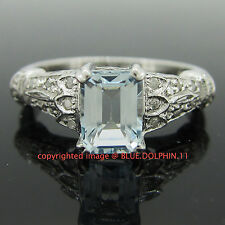 Genuine Natural Diamonds Aquamarine Solid 9ct White Gold Engagement Wedding Ring