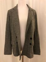 J Crew Womens Grey Blazer Jacket Size 12 100% Wool Double Breasted Notch Collar