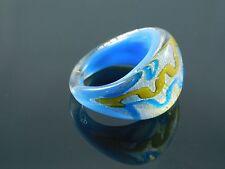 "Beautiful Murano Glass Silver Foiled Lampwork Handmade Sky Blue Ring US 9"""