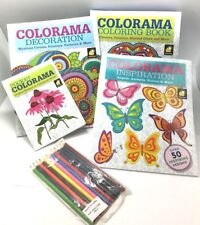 4 Set Colorama Relaxing Therapy Coloring Books Collection & 12 Coloring Pencils