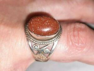 großer Goldfluss Edelstein Damen Ring 925 Silber Gr 57 / 18,1 mm