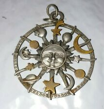 Spoontiques Pewter Pendant Necklace Medal sun moon stars planets astrology #2173