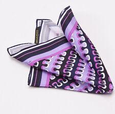 New $120 EMILIO PUCCI Violet Purple-Lavender Wave Print Silk Pocket Square Italy