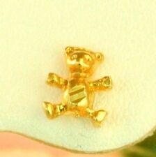 22K THAI BAHT DP YELLOW GOLD ~  LITTLE BEAR PETITE GIRL BABY STUD POST EARRINGS