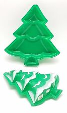 """2 Christmas Tree Plastic Candy Cookie Trays 11"""" tall (2 count)"""