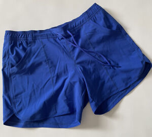 Land's End Swim Shorts 10p Blue Elastic Waist Drawstring Pockets Bottoms