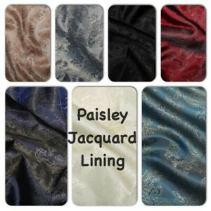 """PAISLEY JAQUARD LINING  - Satin, Paisley, various colours, 60"""" / 150cm wide"""
