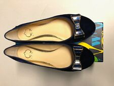 NIB C Wonder Women's Navy Blue Crystal Bow Ballet Flats Shoes Size 8 Brand New