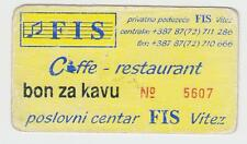 Local note bons coupon caffe restaurant FIS VITEZ BOSNIA ex Yugoslavia - RARRE !