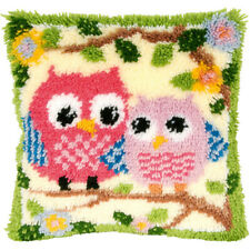 "Gex Latch Hook kits Cushion Cover 16""X16"" Cute Owls Craft Gift"