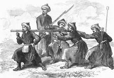 KASHGAR. Tai-foo-chees Ameer's army-firing, antique print, 1874