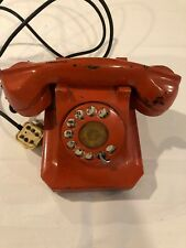 Vintage Red Rotary Telephone for Desk