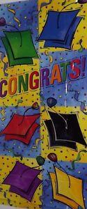 """Congrats Door Cover, Mortarboard Hat Graduation Party 63"""" x 30"""" Wall Decor  NIP"""