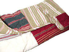 Pottery Barn Red Brown Multi Stripe Patchwork Quilted Standard Pillow Sham New