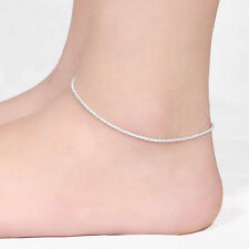 New Women Fashion 925 Sterling Silver Plated Shining Chain Wrist Ankle Bracelet
