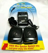 Tozai Personal AM FM Stereo Radio with Headset and Mini Speakers  Compact Size