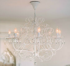 Large Belgian Style Large White 8 Branch French Cut Glass Chandelier