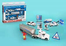 Chevron 11 pc Set 1:87 Fuel Tanker 1:64 Scale Pick Up & Tow Truck + Accessories