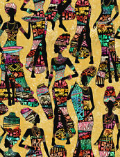 Fabric African Women Kente Dresses Sand Cotton 1/4 yard Timeless Treasures 7420