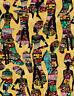 Fabric African Women Kente Dresses Sand Cotton 1/4 yard Timeless Treasures 7420