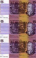 1985 Australia  $5 Johnston/Fraser Notes TRIO CONSECUTIVE GOTHIC aUNC/UNC