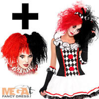 Harlequin Honey + Wig Ladies Halloween Fancy Dress Womens Teens Jester Costume