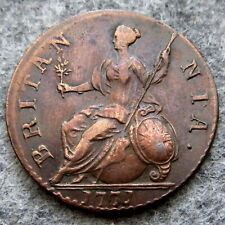 GREAT BRITAIN GEORGE III 1771 HALFPENNY, US COLONIAL COIN, COPPER HIGH GRADE