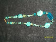 Multi-Blue Glass Colored Necklace