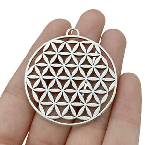 5 x Tibetan Silver Large Flower Of Life Charms Pendants for Jewellery Making