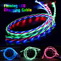LED Light Up Flowing USB Cable Lightning Charging Sync Cord for iPhone 5 6 7 8 X