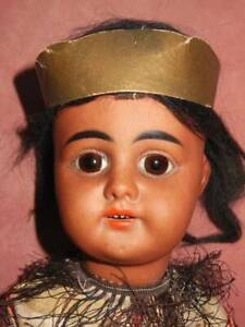 """ANTIQUE GERMAN BISQUE AMERICAN INDIAN DOLL WITH LEAD KNIFE 62 17"""""""