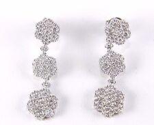 Fine Round Flower Cluster Diamond Drop Dangle Earrings 18K White Gold 3.50Ct