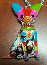 "Inlaid Multi-colored Chihuahua Pendant Necklace with 20"" Chain E3-2"